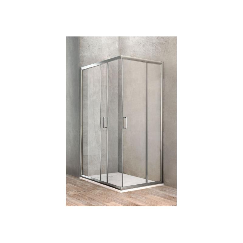 ponsi paroi de douche avec porte coulissante 80x100 cm banio. Black Bedroom Furniture Sets. Home Design Ideas