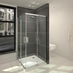 Banio-Belu Accès d'angle avec portes coulissantes, profils alu chromés, 6mm verre easy clean - Mesures 90x90x190cm