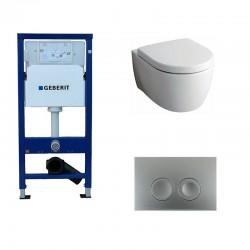 Geberit Delta Pack wc suspendu Keramag Icon blanc avec abattant softclose et touche chrome Delta21 Complet