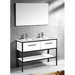 Banio Design Angelo Meuble salle de bain 120 cm - Blanc/Noir