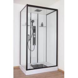 Banio Penna Cabine de douche droite 115x85x220 cm - Noir/Blanc