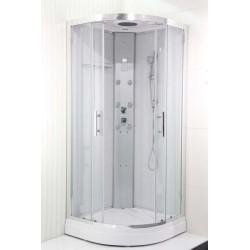 """Cabine de douche Hammam """"bien-être"""" 90x90x225 cm complet - Blanc"""