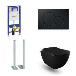 Geberit autoportant Pack Banio Design wc suspendu rimless noir mat avec Duofix Sigma et touche Noir Sigma01 Complet