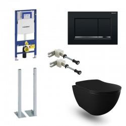 Geberit autoportant Pack Banio Design wc suspendu noir mat avec Duofix Sigma systemfix et touche Noir Sigma30 Complet