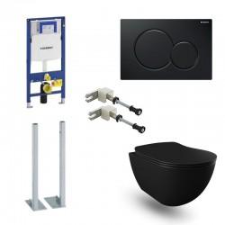 Geberit autoportant Pack Banio Design wc suspendu noir mat avec Duofix Sigma systemfix et touche Noir Sigma01 Complet