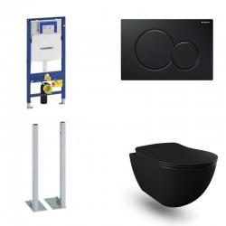 Geberit autoportant Pack Banio Design wc suspendu noir mat avec Duofix Sigma et touche Noir Sigma01 Complet