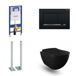 Geberit autoportant Pack Banio Design wc suspendu noir mat avec Duofix Sigma et touche Noir Sigma30 Complet
