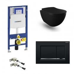 Geberit Pack systemfix Banio Design wc suspendu rimless noir mat avec Duofix Sigma et touche Noir Sigma30 Complet