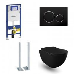 Geberit autoportant Pack Banio Design wc suspendu noir mat avec Duofix Sigma et touche Noir Complet