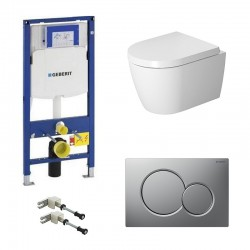 Geberit autoportant Pack Duravit Me by Starck wc suspendu avec systemfix et touche chrome mat Sigma01