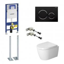 Geberit autoportant Pack Duravit Me by Starck wc suspendu avec systemfix et touche noire Sigma20