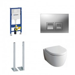 Geberit autoportant Delta Pack wc suspendu Keramag Icon blanc avec abattant softclose et touche chrome Delta50 Complet