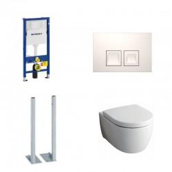 Geberit autoportant Delta Pack wc suspendu Keramag Icon blanc avec abattant softclose et touche blanche Delta50 Complet