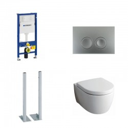Geberit autoportant Delta Pack wc suspendu Keramag Icon blanc avec abattant softclose et touche chrome Delta21 Complet