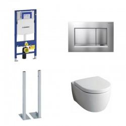 Geberit autoportant Sigma Pack wc suspendu Keramag icon avec abattant softclose et touche mat chrome Complet