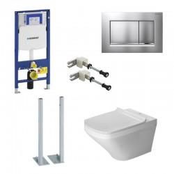 Geberit autoportant Duravit durastyle rimless et durafix pack WC suspendue avec set de fixation - Plaque de commande Chrome