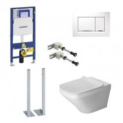 Geberit autoportant Duravit durastyle rimless et durafix pack WC suspendue avec set de fixation - Plaque de commande Blanc