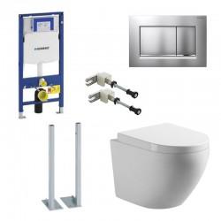 Geberit autoportant Pack wc suspendu blanc avec Geberit Duofix Sigma + set de fixation + touche mat chrome Complet