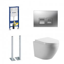 Geberit autoportant Pack wc suspendu blanc avec Geberit Duofix Delta et touche carré chromé Complet