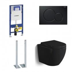 Geberit autoportant Pack WC suspendu Banio-Gary Noir brillant Compact avec Geberit duofix Sigma et touche noir complet