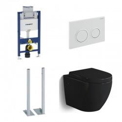Geberit autoportant Pack WC suspendu Banio-Gary Noir brillant Compact duofix Omega fixation et abattant soft-close complet