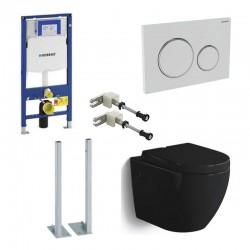 Geberit autoportant Pack WC suspendu Banio-Gary Noir brillant Compact duofix set de fixation et abattant soft-close complet