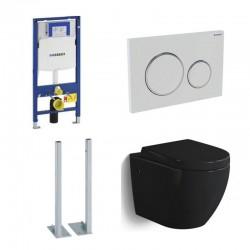 Geberit autoportant Pack WC suspendu Banio-Gary Noir brillant Compact avec Geberit duofix et abattant soft-close complet