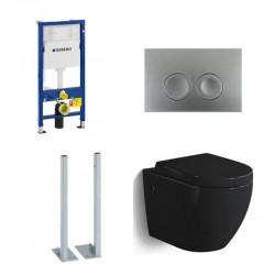 Geberit autoportant Pack Banio-Gary wc suspendu noir brillant avec Geberit Duofix Delta et touche mat chromé Complet