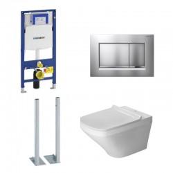 Geberit autoportant Duravit durastyle rimless et durafix pack WC suspendue - Plaque de commande mat chromé