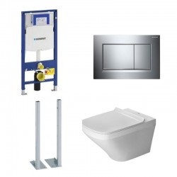 Geberit autoportant Duravit durastyle rimless et durafix pack WC suspendue - Plaque de commande chromé brillant