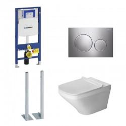 Geberit autoportant Duravit durastyle rimless et durafix pack WC suspendue - Plaque de commande chromé