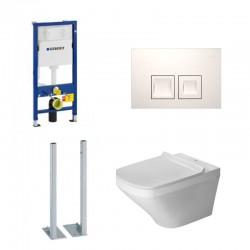 Geberit autoportant Pack Duofix Delta avec Duravit pack WC suspendue Durastyle Rimless en durafix - Touche blanc carré