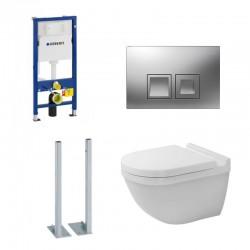 Geberit autoportant Pack Duofix Delta avec Duravit WC suspendu rimless et touche carré chromé Complet