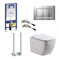 Geberit autoportant Pack Banio-Gert wc suspendu Blanc avec Geberit Duofix set de fixation et touche carré Mat Chromé Complet