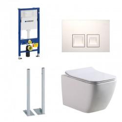 Geberit autoportant Pack Banio-Gert wc suspendu Blanc avec Geberit Duofix Delta et touche blanc carré Complet