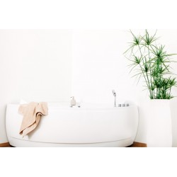 Baignoire d'angle Olivo avec balnéo Whirlpool 150x150cm blanc