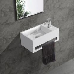 Banio Lave-mains rectangulaire avec porte-serviette trou à droite 35,6x20,3cm blanc