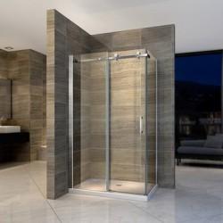 Banio paroi de douche et porte de douche coulissante avec verre securit 8mm 90x140x195cm - chrome