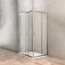 Ponsi accès d'angle avec portes coulissantes en verre securit 6mm - 67-69x87-89x190cm