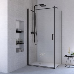 Ponsi porte de douche pivotante verre securit 6mm 69-72x195cm - noir mat