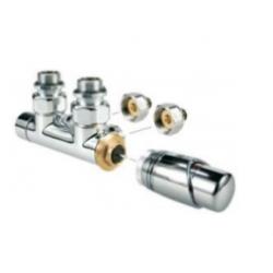 Banio robinet thermostatique radiateur d'angle équerre chrome