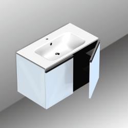 Ponsi meuble sous-lavabo 2 portes Vito - 80x45x50cm blanc brillant