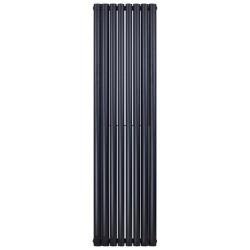 Banio radiateur ovale design vertical double - 180x47,2cm 1640w noir mat