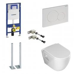 Geberit Duofix autoportant pack WC suspendu Banio design avec fonction bidet abattant soft-close et plaque de commande blanche