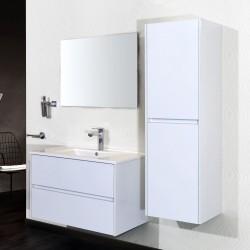 Banio meuble de salle de bain avec miroir Hayat 80cm - blanc
