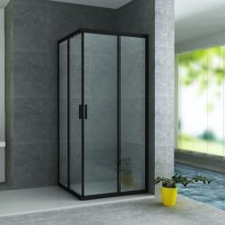 Banio accès d'angle avec portes coulissantes verre securit 6mm 80x80x195cm - noir mat