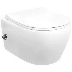 Banio WC douche suspendu design rimless avec fonction bidet et robinet intégré eau chaude/froide