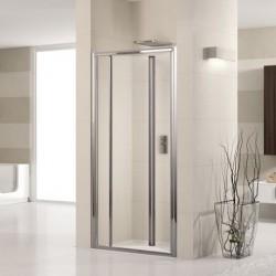 Novellini  lunes s 90 porte pliante est.90-96 cm verre trempe transparent  profilé blanc