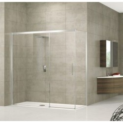 Novellini  rose ph 157 droit dimension extensible de  157-160 cm verre trempe transparent  profilé blanc