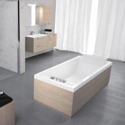 Novellini  sense 4 190x80 avec cadre avec robinetterie sur la baignoire  blanc mat sans tablier